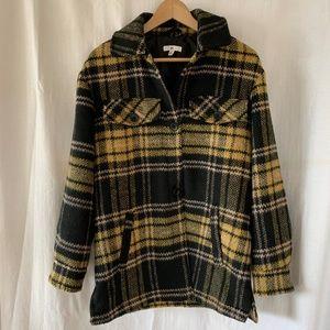 BP Yellow & Black Plaid Coat